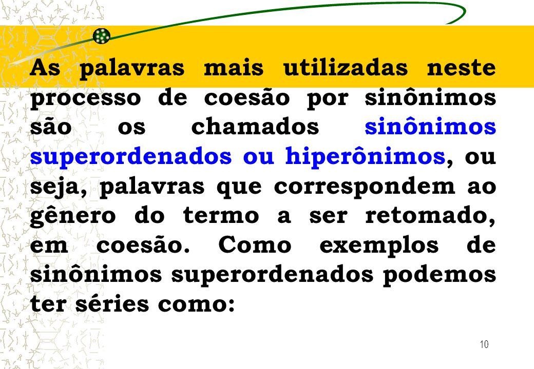 10 As palavras mais utilizadas neste processo de coesão por sinônimos são os chamados sinônimos superordenados ou hiperônimos, ou seja, palavras que c