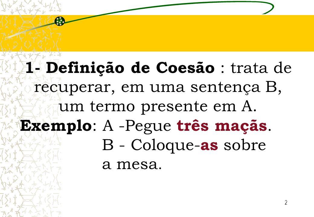 2 1- Definição de Coesão : trata de recuperar, em uma sentença B, um termo presente em A. Exemplo : A -Pegue três maçãs. B - Coloque- as sobre a mesa.