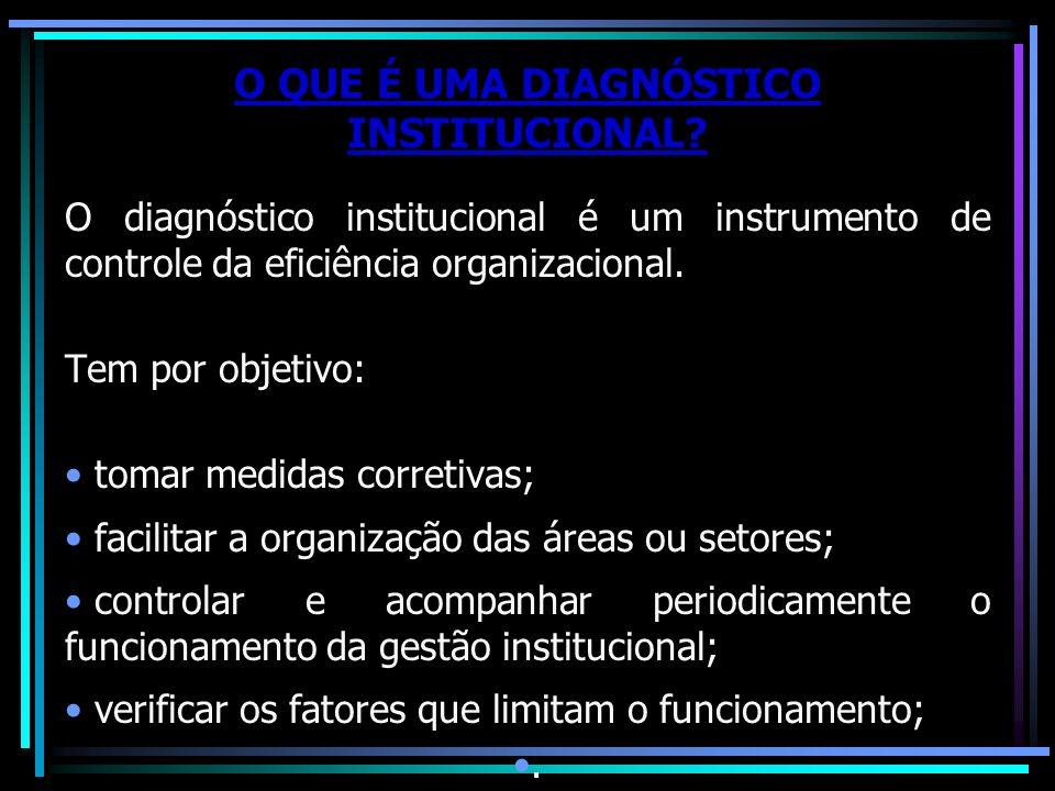 O QUE É UMA DIAGNÓSTICO INSTITUCIONAL? O diagnóstico institucional é um instrumento de controle da eficiência organizacional. Tem por objetivo: tomar