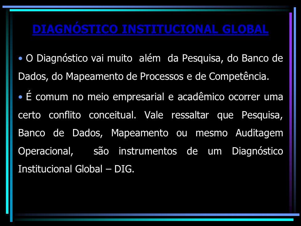 DIAGNÓSTICO INSTITUCIONAL GLOBAL O Diagnóstico vai muito além da Pesquisa, do Banco de Dados, do Mapeamento de Processos e de Competência. É comum no
