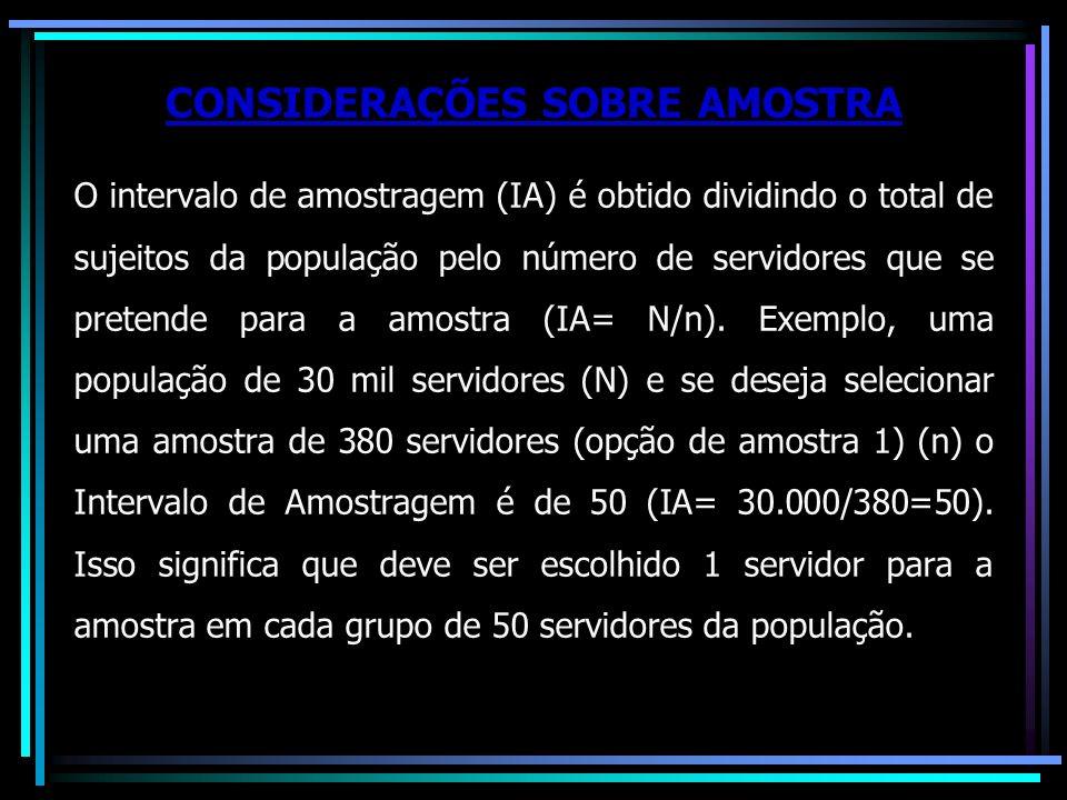 O intervalo de amostragem (IA) é obtido dividindo o total de sujeitos da população pelo número de servidores que se pretende para a amostra (IA= N/n).