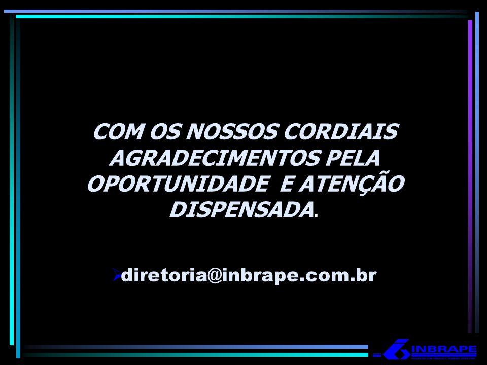 COM OS NOSSOS CORDIAIS AGRADECIMENTOS PELA OPORTUNIDADE E ATENÇÃO DISPENSADA. diretoria@inbrape.com.br