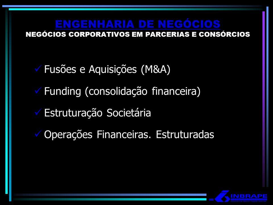 ENGENHARIA DE NEGÓCIOS NEGÓCIOS CORPORATIVOS EM PARCERIAS E CONSÓRCIOS Fusões e Aquisições (M&A) Funding (consolidação financeira) Estruturação Societ