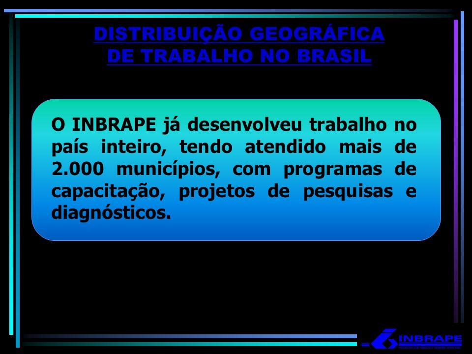 DISTRIBUIÇÃO GEOGRÁFICA DE TRABALHO NO BRASIL O INBRAPE já desenvolveu trabalho no país inteiro, tendo atendido mais de 2.000 municípios, com programa