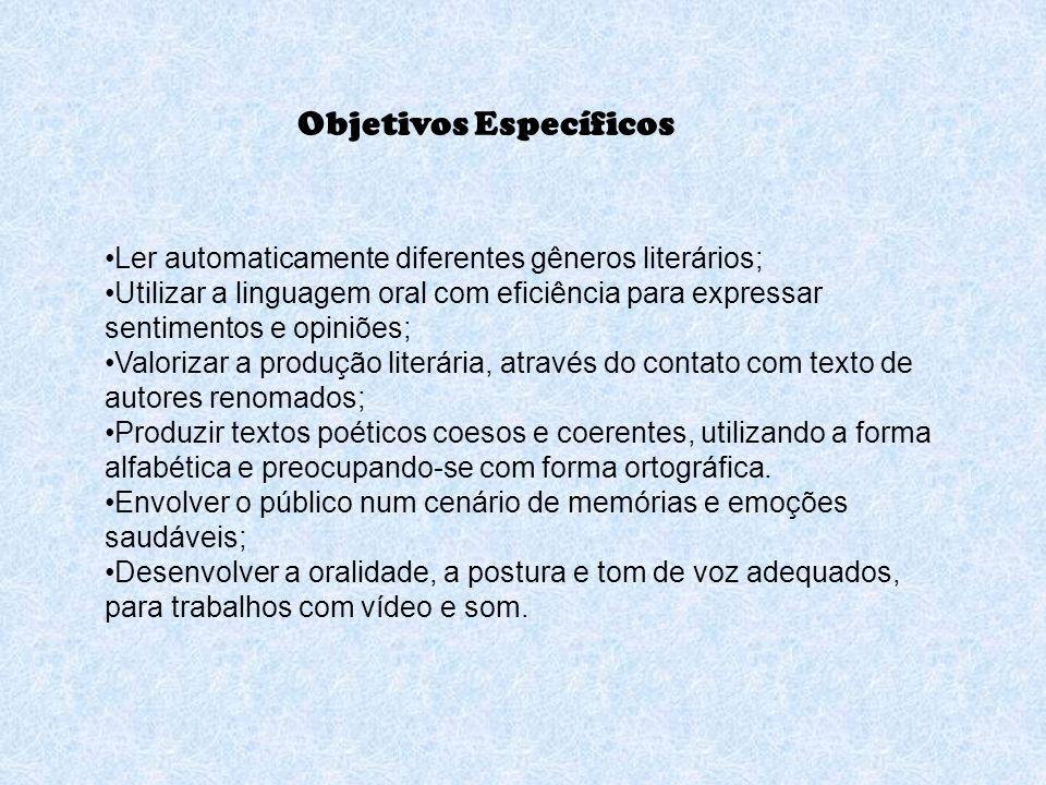 O trabalho foi realizado, no ano de 2008, com uma turma de 2ª série das Séries Iniciais do Ensino Fundamental, através da leitura e análise de Poesias de diversos autores da Literatura Brasileira.