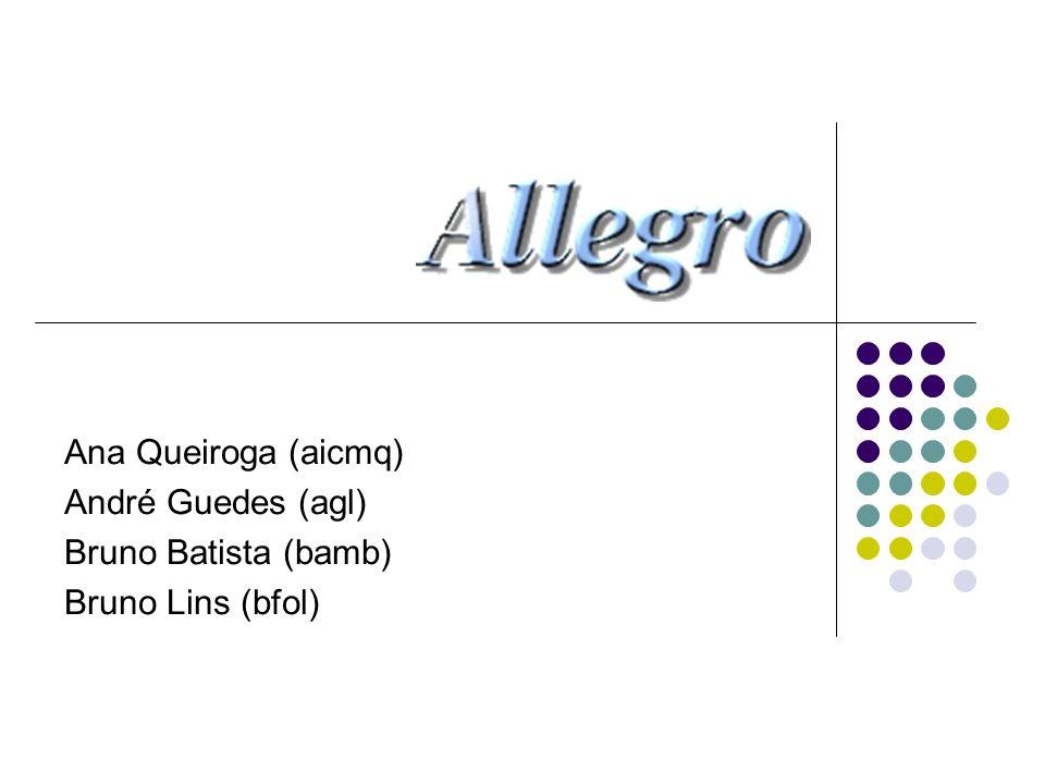 A Biblioteca Allegro Biblioteca para construção de jogos e aplicações multimídia em geral Free Source Voltada mais especialmente para jogos 2D Conhecida pela facilidade de adicionar entrada de dados via teclado, mouse e joystick Grande comunidade de desenvolvedores