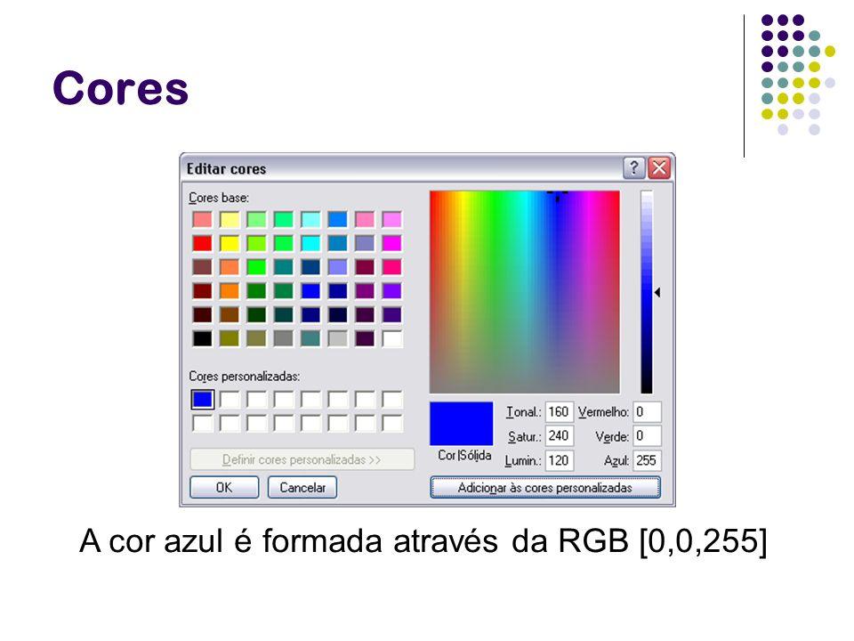 Cores A cor azul é formada através da RGB [0,0,255]