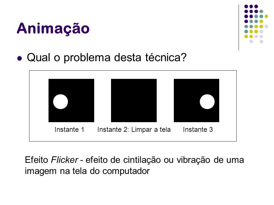Animação Qual o problema desta técnica? Efeito Flicker - efeito de cintilação ou vibração de uma imagem na tela do computador Instante 1Instante 2: Li