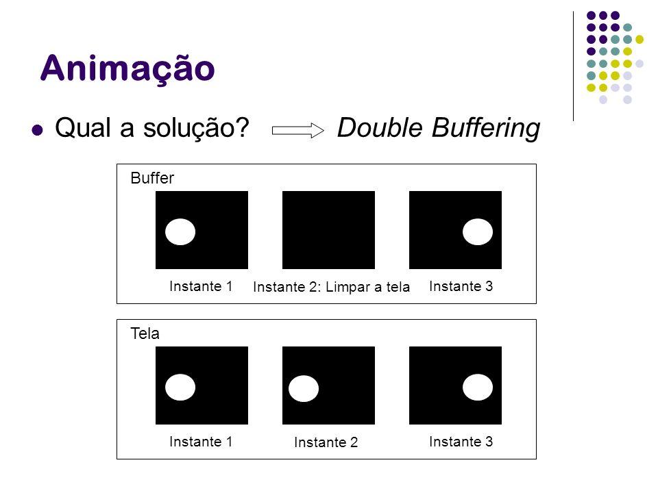 Animação Qual a solução? Double Buffering Instante 2: Limpar a tela Instante 1 Instante 3 Buffer Instante 1 Instante 3 Tela Instante 2