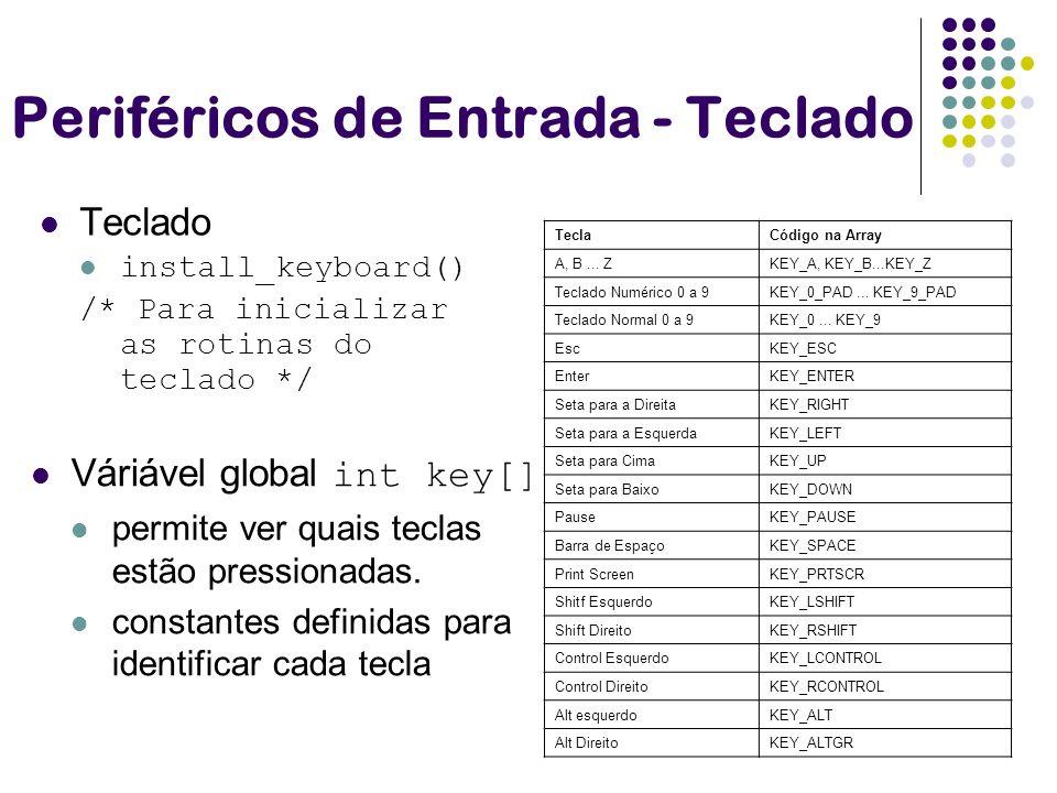 Periféricos de Entrada - Teclado Teclado install_keyboard() /* Para inicializar as rotinas do teclado */ TeclaCódigo na Array A, B... ZKEY_A, KEY_B...