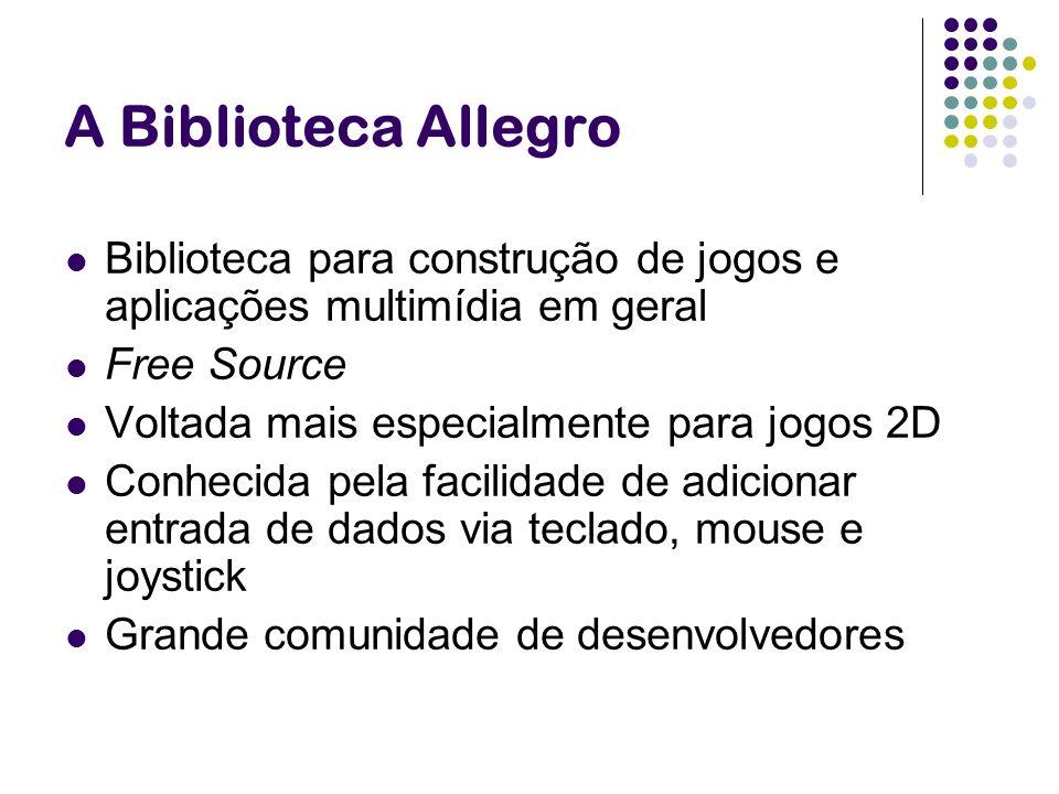 A Biblioteca Allegro Biblioteca para construção de jogos e aplicações multimídia em geral Free Source Voltada mais especialmente para jogos 2D Conheci