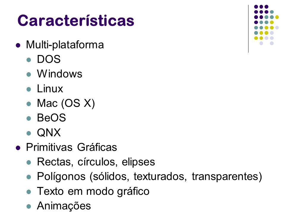 Características Multi-plataforma DOS Windows Linux Mac (OS X) BeOS QNX Primitivas Gráficas Rectas, círculos, elipses Polígonos (sólidos, texturados, t