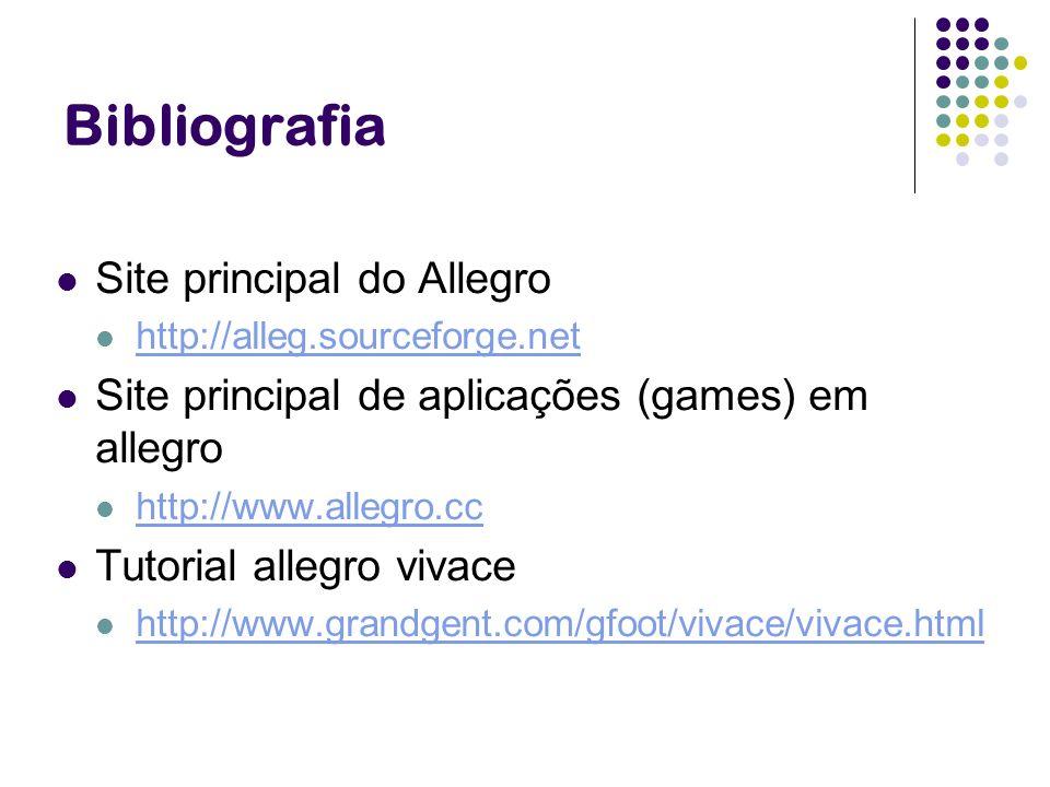 Bibliografia Site principal do Allegro http://alleg.sourceforge.net Site principal de aplicações (games) em allegro http://www.allegro.cc Tutorial all