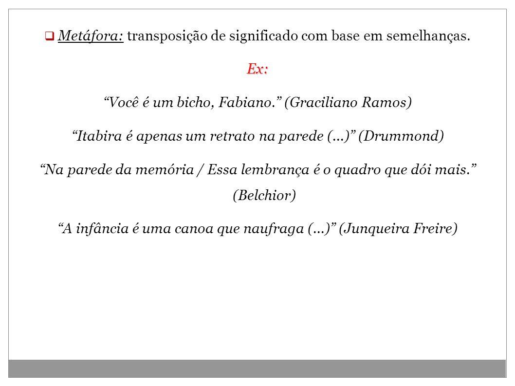 Metáfora: transposição de significado com base em semelhanças.Ex: Você é um bicho, Fabiano. (Graciliano Ramos) Itabira é apenas um retrato na parede (