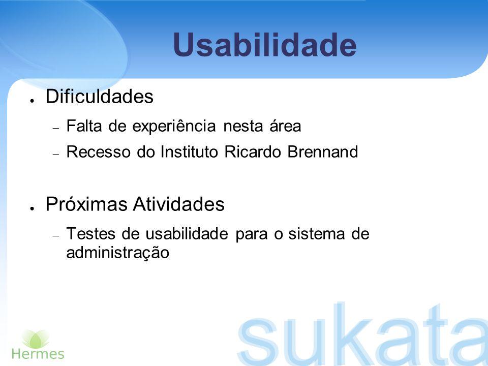 Usabilidade Dificuldades Falta de experiência nesta área Recesso do Instituto Ricardo Brennand Próximas Atividades Testes de usabilidade para o sistem