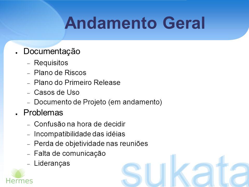 Andamento Geral Documentação Requisitos Plano de Riscos Plano do Primeiro Release Casos de Uso Documento de Projeto (em andamento) Problemas Confusão