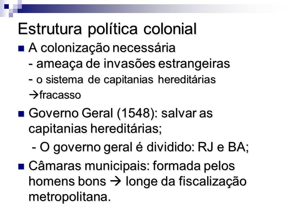 Estrutura política colonial A colonização necessária - ameaça de invasões estrangeiras - o sistema de capitanias hereditárias fracasso A colonização n