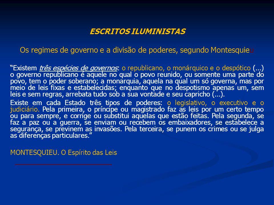 ESCRITOS ILUMINISTAS Os regimes de governo e a divisão de poderes, segundo Montesquieu Existem três espécies de governos: o republicano, o monárquico