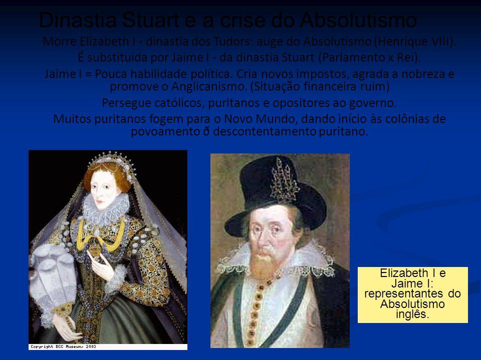 Morre Elizabeth I - dinastia dos Tudors: auge do Absolutismo (Henrique VIII). É substituída por Jaime I - da dinastia Stuart (Parlamento x Rei). Jaime