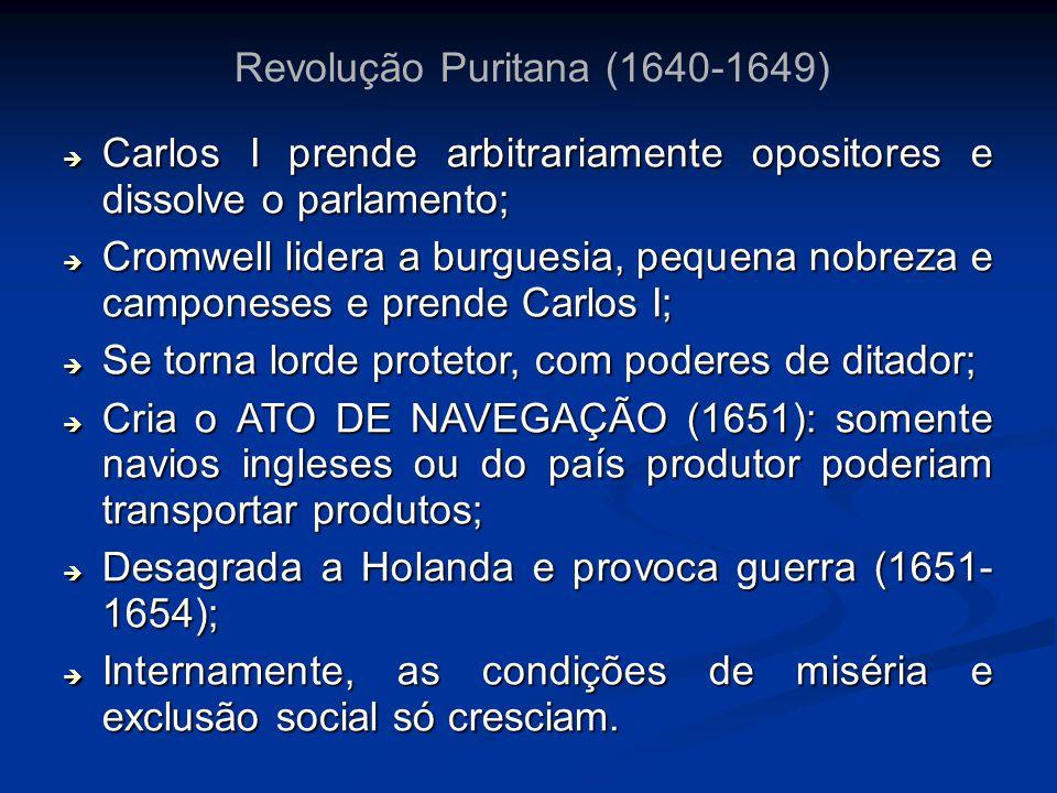 Revolução Puritana (1640-1649) Carlos I prende arbitrariamente opositores e dissolve o parlamento; Carlos I prende arbitrariamente opositores e dissol