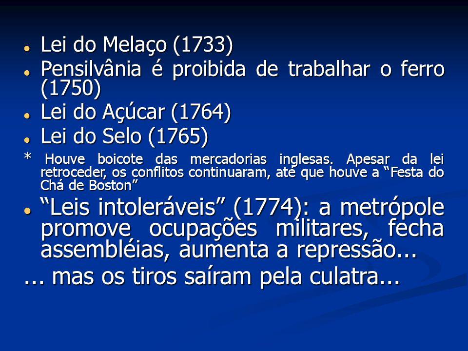 Lei do Melaço (1733) Lei do Melaço (1733) Pensilvânia é proibida de trabalhar o ferro (1750) Pensilvânia é proibida de trabalhar o ferro (1750) Lei do