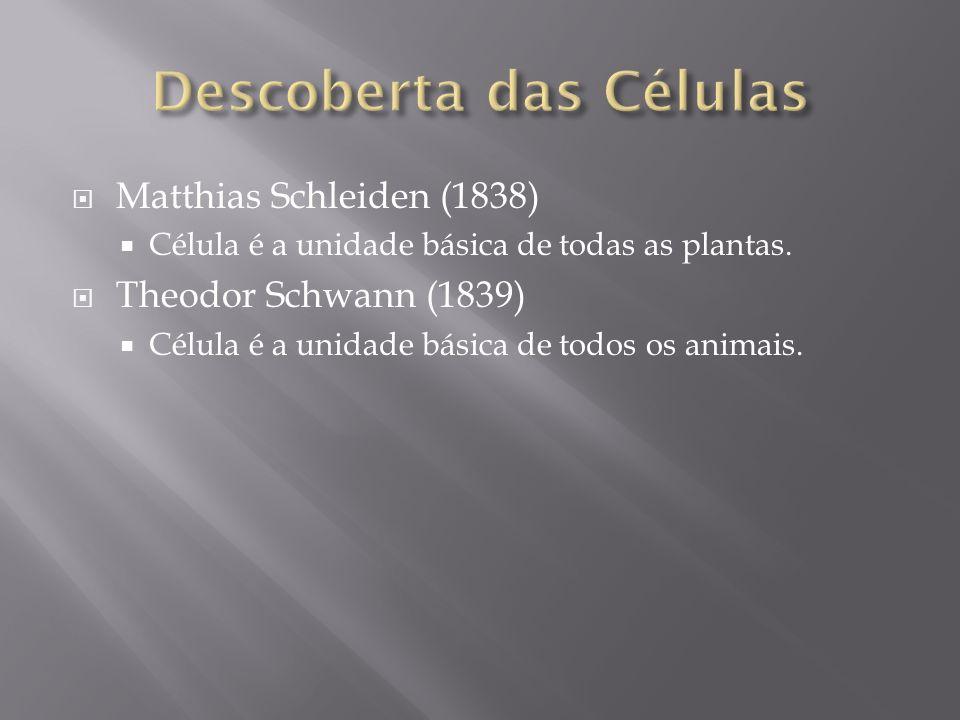 Matthias Schleiden (1838) Célula é a unidade básica de todas as plantas.