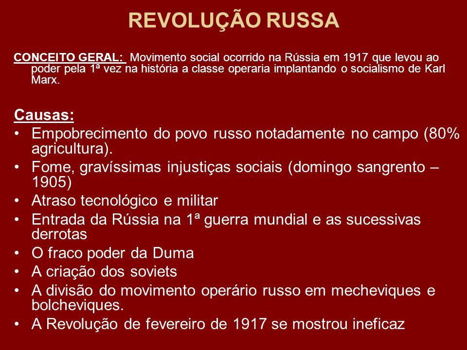 REVOLUÇÃO RUSSA CONCEITO GERAL: Movimento social ocorrido na Rússia em 1917 que levou ao poder pela 1ª vez na história a classe operaria implantando o