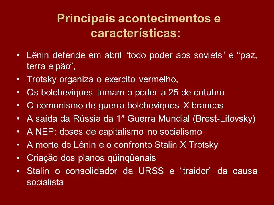 Principais acontecimentos e características: Lênin defende em abril todo poder aos soviets e paz, terra e pão, Trotsky organiza o exercito vermelho, O