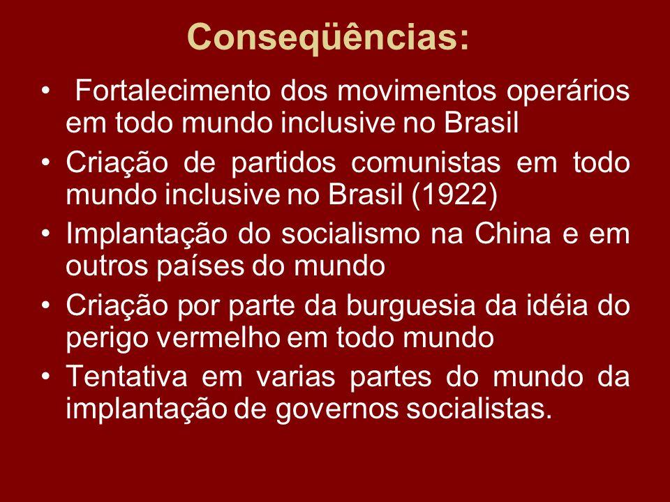 Conseqüências: Fortalecimento dos movimentos operários em todo mundo inclusive no Brasil Criação de partidos comunistas em todo mundo inclusive no Bra