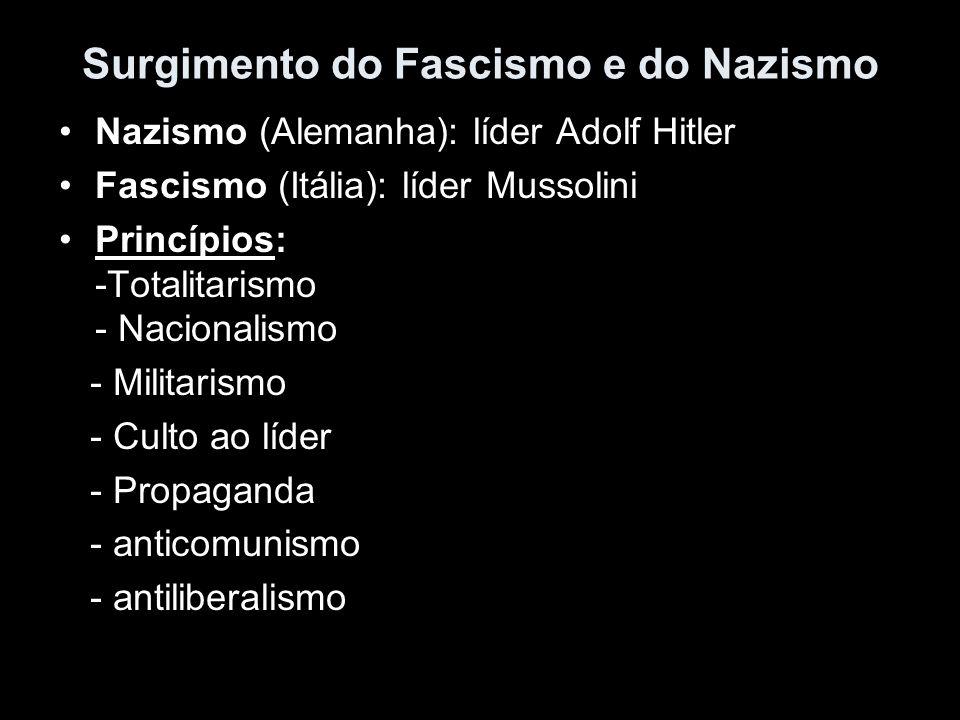 Surgimento do Fascismo e do Nazismo Nazismo (Alemanha): líder Adolf Hitler Fascismo (Itália): líder Mussolini Princípios: -Totalitarismo - Nacionalism