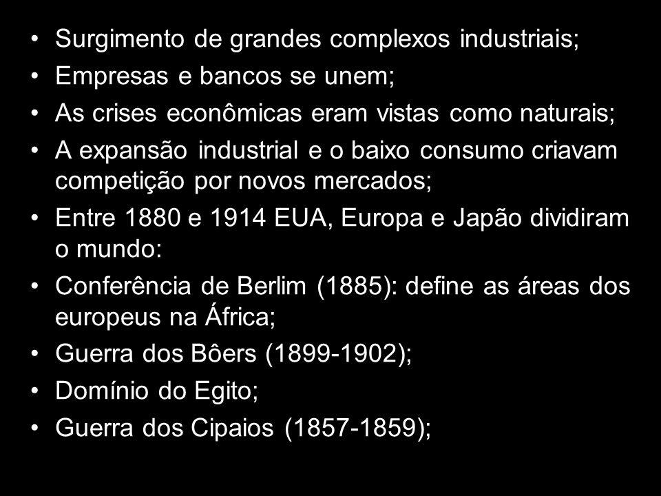 Surgimento de grandes complexos industriais; Empresas e bancos se unem; As crises econômicas eram vistas como naturais; A expansão industrial e o baix