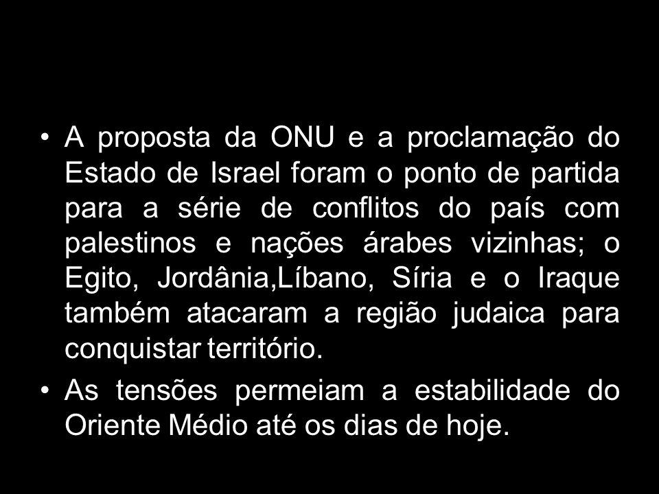 A proposta da ONU e a proclamação do Estado de Israel foram o ponto de partida para a série de conflitos do país com palestinos e nações árabes vizinh