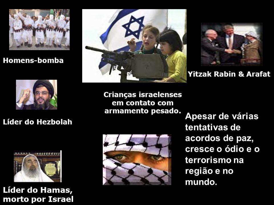 Líder do Hezbolah Líder do Hamas, morto por Israel Homens-bomba Crianças israelenses em contato com armamento pesado. Yitzak Rabin & Arafat Apesar de