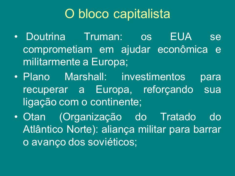 O bloco capitalista Doutrina Truman: os EUA se comprometiam em ajudar econômica e militarmente a Europa; Plano Marshall: investimentos para recuperar