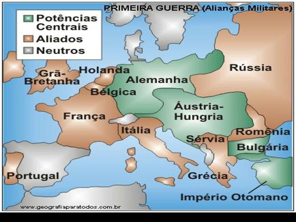 Início da Guerra Estopim (começo): assassinato do príncipe do Império Austro-Hungaro Francisco Ferdinando A guerra espalha-se pela Europa e por outras nações do mundo.