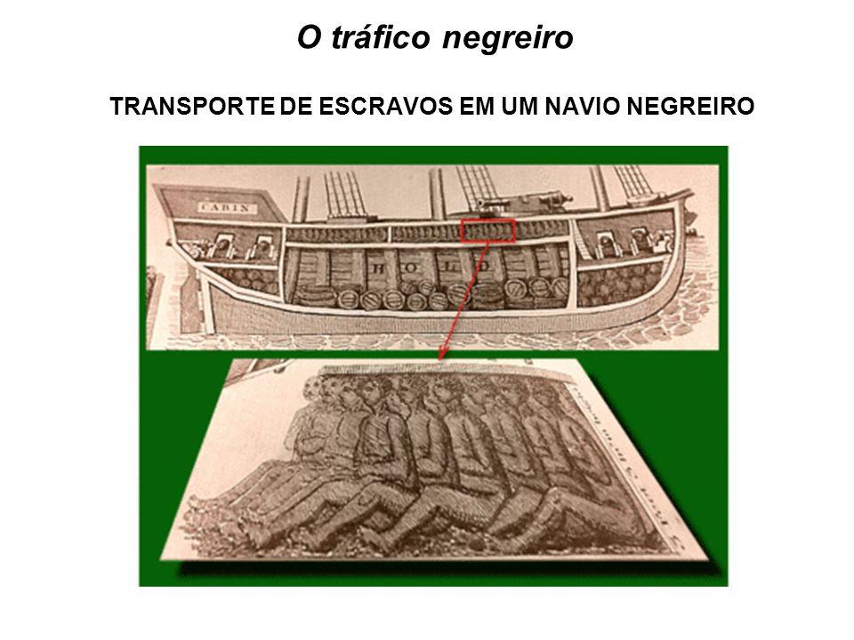 TRANSPORTE DE ESCRAVOS EM UM NAVIO NEGREIRO O tráfico negreiro