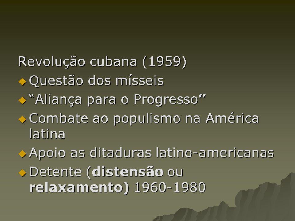 Revolução cubana (1959) Questão dos mísseis Questão dos mísseis Aliança para o Progresso Aliança para o Progresso Combate ao populismo na América lati