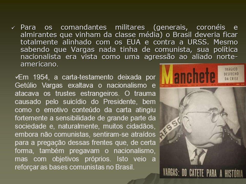 Para os comandantes militares (generais, coronéis e almirantes que vinham da classe média) o Brasil deveria ficar totalmente alinhado com os EUA e con