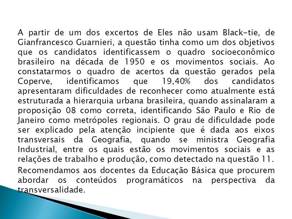 A partir de um dos excertos de Eles não usam Black-tie, de Gianfrancesco Guarnieri, a questão tinha como um dos objetivos que os candidatos identifica