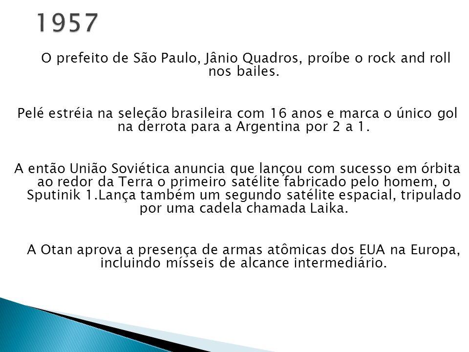 O prefeito de São Paulo, Jânio Quadros, proíbe o rock and roll nos bailes. Pelé estréia na seleção brasileira com 16 anos e marca o único gol na derro