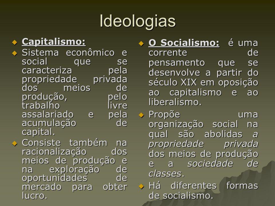 Ideologias Capitalismo: Capitalismo: Sistema econômico e social que se caracteriza pela propriedade privada dos meios de produção, pelo trabalho livre