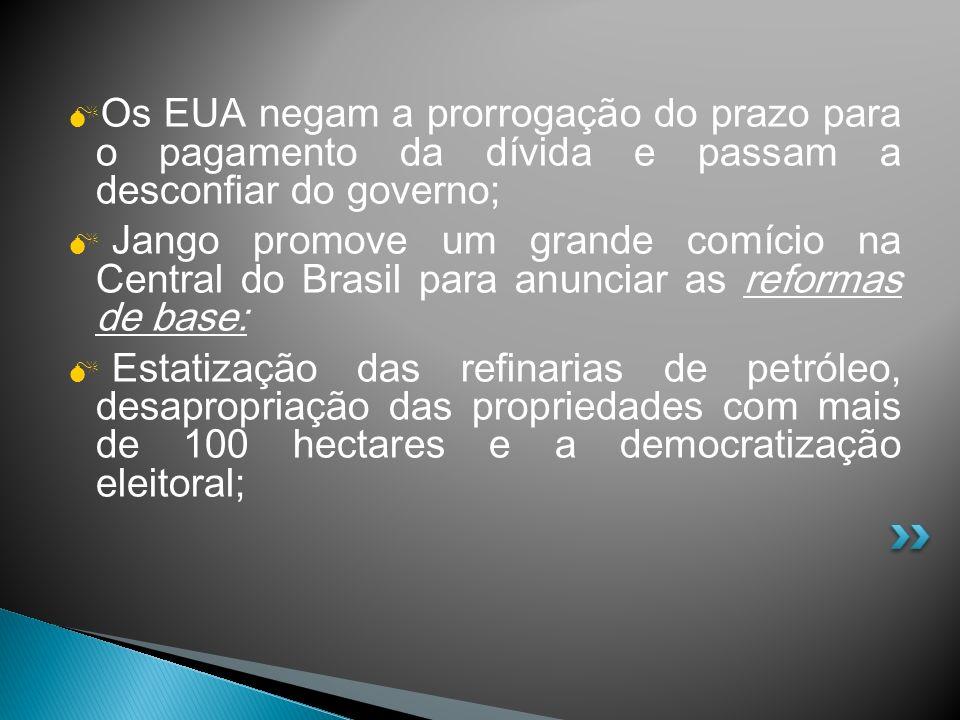 Os EUA negam a prorrogação do prazo para o pagamento da dívida e passam a desconfiar do governo; Jango promove um grande comício na Central do Brasil