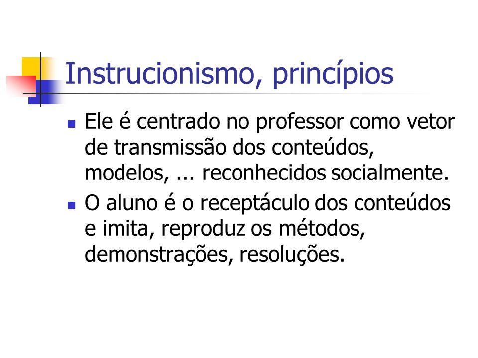 Instrucionismo, princípios Ele é centrado no professor como vetor de transmissão dos conteúdos, modelos,... reconhecidos socialmente. O aluno é o rece