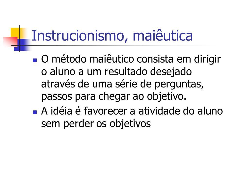 Instrucionismo, maiêutica O método maiêutico consista em dirigir o aluno a um resultado desejado através de uma série de perguntas, passos para chegar