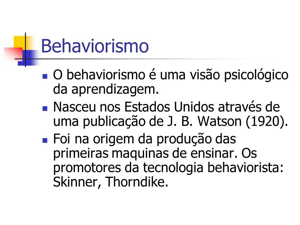 Behaviorismo O behaviorismo é uma visão psicológico da aprendizagem. Nasceu nos Estados Unidos através de uma publicação de J. B. Watson (1920). Foi n
