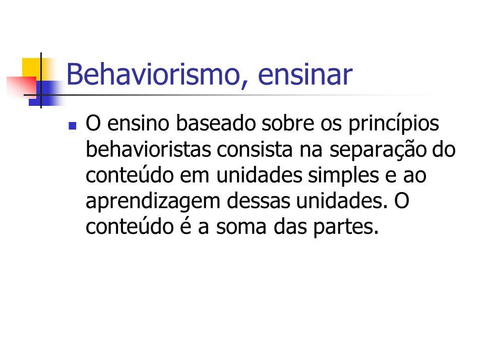 Behaviorismo, ensinar O ensino baseado sobre os princípios behavioristas consista na separação do conteúdo em unidades simples e ao aprendizagem dessa