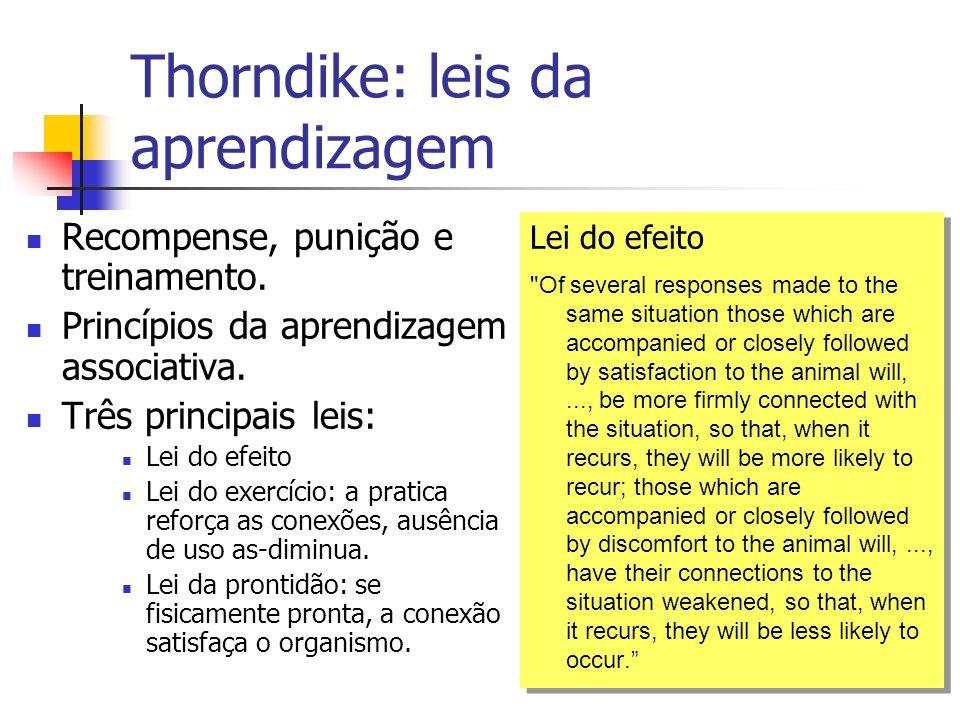 Thorndike: leis da aprendizagem Recompense, punição e treinamento. Princípios da aprendizagem associativa. Três principais leis: Lei do efeito Lei do