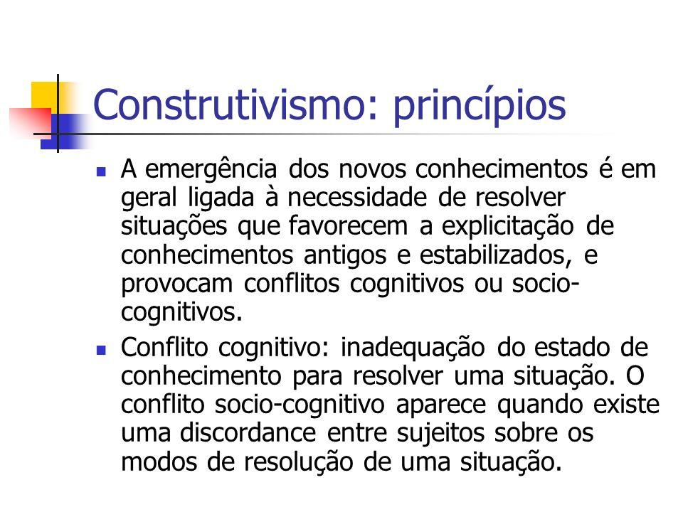Construtivismo: princípios A emergência dos novos conhecimentos é em geral ligada à necessidade de resolver situações que favorecem a explicitação de