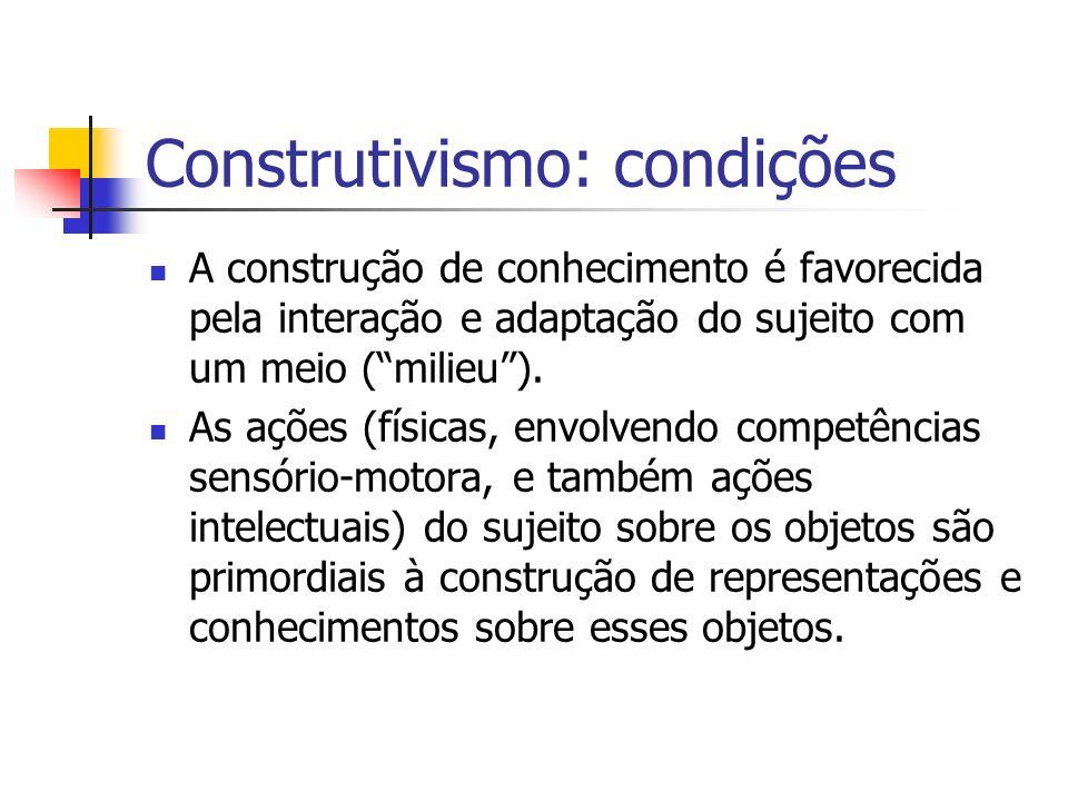 Construtivismo: condições A construção de conhecimento é favorecida pela interação e adaptação do sujeito com um meio (milieu). As ações (físicas, env