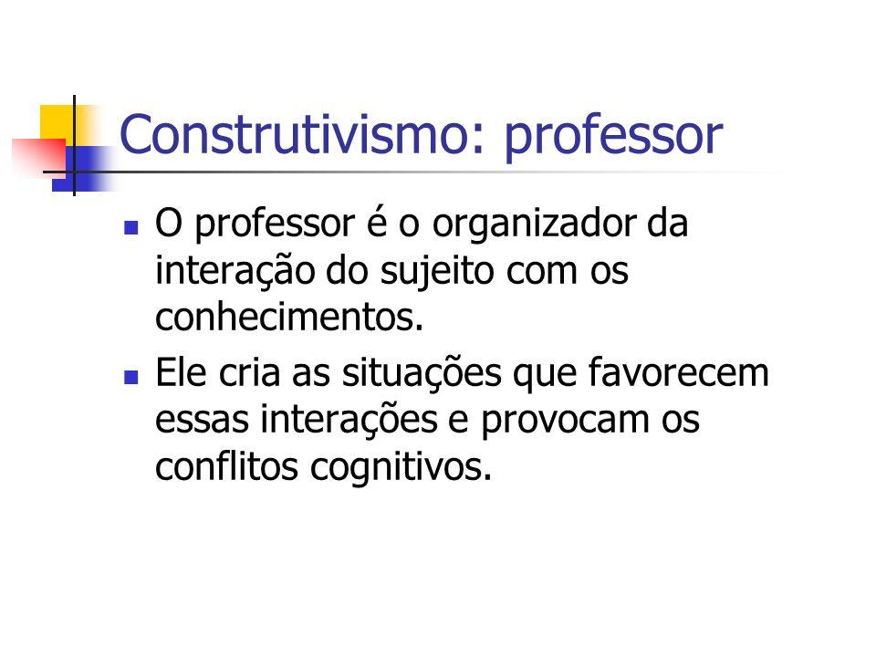Construtivismo: professor O professor é o organizador da interação do sujeito com os conhecimentos. Ele cria as situações que favorecem essas interaçõ